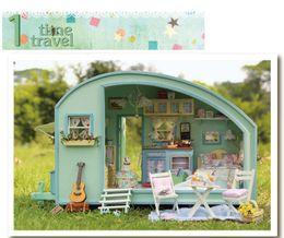 Wholesale Wooden Furniture For Children - DIY Doll House Wooden Doll Houses Miniature dollhouse Furniture Kit Toys for children Gift Time travel doll houses