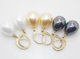 2019 schwarze perle ohrringe china Großhandel 12X16MM Weiß Gelb Schwarz Muschel Perle Ohrringe günstig schwarze perle ohrringe china