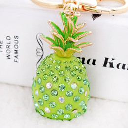 Wholesale Fruit Hanger - New Pineapple keychains crystal fruit key rings lovely woman handbag pendant hanger car key holder drop shipping