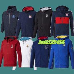 Wholesale Zipper Jr - AAA+ Ajax 2017 2018 Paris football tracksuits 17 18 Real Madrid Neymar JR Ronaldo DYBALA MARCHISIO training survetement Hooded soccer jacket
