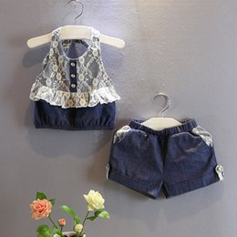 Wholesale Boys Jean Sets - Wholesale- Baby girls navy blue summer clothes sets jeans clothing set with lace strap tops and jean pants girls sets clohes for baby kids