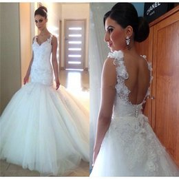Wholesale Drop Waist Wedding Dress Tulle - Vintage Beaded 3D Floral Lace Applique Backless Wedding Dresses 2017 Sexy Dropped Waist Sweetheart Ivory Tulle Plus Size Bridal Gowns