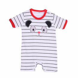 Wholesale Totoro Clothes - Wholesale- Newborn Baby Romper Summer Cotton Boy Girl Totoro Striped RompersBaby One-piece Rompers Jumpsuits Infant Clothing 0-24M