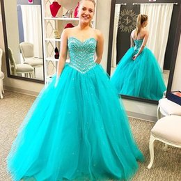 Wholesale Heavily Beaded Lace Gowns - 2017 New Turquoise Ball Gown Quinceanera Prom Dresses Sweetheart Corset Back Heavily Beaded Crystals Princess High School Prom Party Gowns