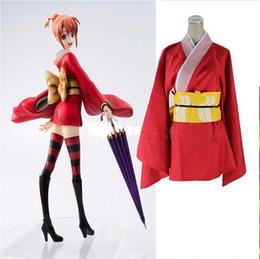 Kimono gintama online-Disfraces de Cosplay de anime Gintama Silver Soul Kagura Kimono Red Uniforms para Halloween
