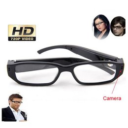 Wholesale spy camera lens glasses - HD720P 30fps Camera Eyewear Ultra-thin flat glasses on the left lens Hidden Spy SunGlasses camera Dvr Video & Audio Recorder Mini DV