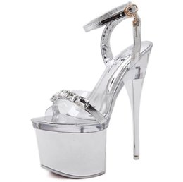 Wholesale Dancing Platform - Fashion Steel Tube Dancing Shoes Women Summer New High Heel Platform Peep Toe Sandals 18cm Thick the Bottom Waterproof 8cm Nightclub Shoe