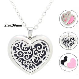 Wholesale Free Heart Necklace - New Arrival Essential Oil Diffuser heart Perfume Locket Pendant Necklace Stainless Steel floating locket free with chain