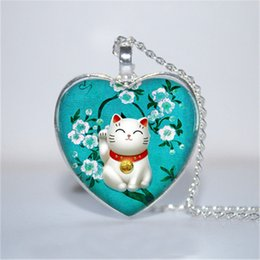 Wholesale Lucky Turquoise - 10pcs lot Turquoise Maneki Neko Pendant, Maneki Neko Necklace, Lucky Cat Jewelry Necklace Glass Photo Cabochon Necklace