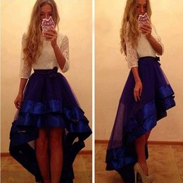 Wholesale Two Piece Dresses Tulle Skirt - 2017 Fashion High Low Prom Dresses White Lace Top And Dark Blue Skirt Jewel 3 4 Long Sleeves Evening Dresses Two Pieces Custom Party Gowns
