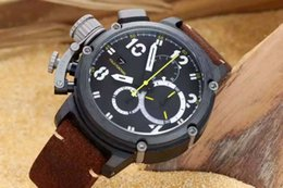 Wholesale Best Brand Men Watches Calendar - top Brand Luxury Men Sport Wristwatches Stainless 50mm Black Dial Quartz Chronograph Left Hook Mens Fashion Watch Leather Strap Best Gift