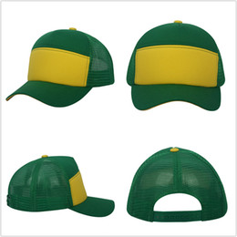 Casual Plain Cotton Mesh Hat Patchwork Green Yellow Colors Trucker Hat  Baseball Cap Man s Woman s Logging Hat 8a27cf404a2b
