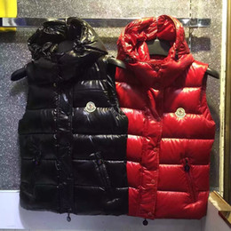 Wholesale down vest xl - M Brand High Quality Women hooded Down Vest Down Jacket & Outerwear Coat thick winter sportswear Black and Red color