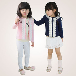 Wholesale Jacket Style Blouses - Girl Spring Clothing Long Sleeve Lace Cardigan Jacket Kids Autumn Outwear Pink Blue 2 Colors For 1~7 Years