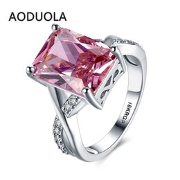 Wholesale Pink Engagement Party - Square Ring Platinum Plated with a Pink Large Zirconia Women's Rings Ladies and Girls Jewelry For Female Love Engagement Wedding
