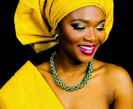 Wholesale Yellow Sego Gele - african beads jewelry set green silver color necklace set match for yellow headtie gele african sego nigerian wedding aso ebi styles