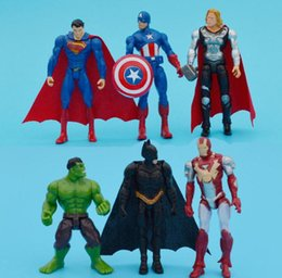 Wholesale Iron Man Baby - 2017 6pcs set 9-11cm High Quality The Avengers PVC Captain America Superman Batman Thor Iron man Action Figures For Baby