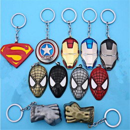 Wholesale Toys For Lovers - Superhero Avengers Key Chain Bag Hangs Key Rings Toys Iron Man Superman Spiderman Keyrings Zinc Alloy Gift for Children DHL Free