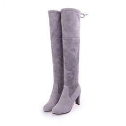 Wholesale Hot Thigh High - Hot Sale Ladies Women Faux Suede Thigh High Boot Stretch Sexy Fashion Over the Knee Boots Nude Shoes Woman High Heels Black Gray