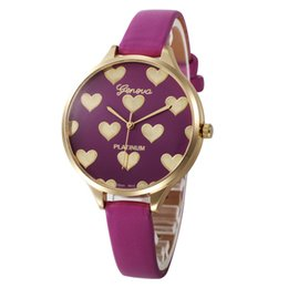 Wholesale Geneva Heart - Fashion PU Leather Quartz Watch Geneva PLATINUM Analog Heart Shaped Watches Faddish Thin strap Dress Wristwatch For Christmas Party Gift