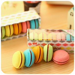 Wholesale Wholesale Stationery Sets - Wholesale-5 pcs set Macaron color erasers Cute cake rubber eraser for kids borracha funny stationery material escolar school supplies 6471