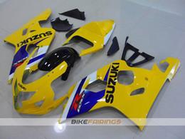 Wholesale Gsxr Abs Motorcycle Fairing - New ABS motorcycle parts Fairings Kits Fit For Suzuki GSXR600 GSXR750 2004 2005 600 750 04 05 K4 gsxr bodywork set blue yellow
