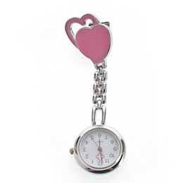 Wholesale Peaches Watch - Wholesale Hot Sales Double Heart Nurse Chest watch Double Peach Heart Medical Nurse Watches Stainless Steel Doctor Watches