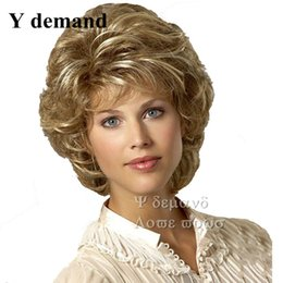 Wholesale Cheap Wig Blonde Short - Fashion Fluffy Synthetic Wigs Cheap Short Wavy Blonde Synthetic Sexy Female Haircut Wigs Nice Natural Looking Women Modern