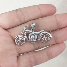 Medallones de latón online-Latón de la motocicleta colgante Locket jaula, se puede poner en 7.4 mm perla colgante de montaje para DIY collar de la pulsera encantos de montaje