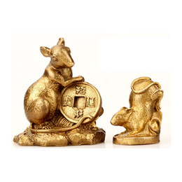 Wholesale ox brass - Lucky Feng Shui Rat Chinese Zodiac Animals Statues Figurines Fengshui Rat Ox Tiger Rabbit Dragon Snake Horse Goat Monkey Rooster Dog Pig