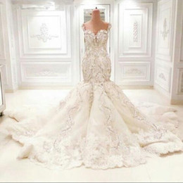 Wholesale Gown Embellished Sweetheart - Luxury Crystal Wedding Dresses Dubai Dresses Mermaid Trumpet Fit and Flare Beaded Lace Appliques Floral Embellished Beading Bridal Gowns