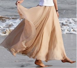 Wholesale Womens Plus Size Long Skirt - Wholesale-Women Long Chiffon Skirts 97cm Candy Color Pleated Maxi Womens Skirts Size S-L W3374
