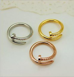 Wholesale Nails Bars - Hot Sell Couple Ring Double Personality Round Nail Ring Stainless Stell Titanium 6mm Ring Jewelry For Man And Women with box