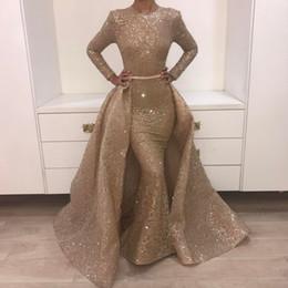 langes kleid sebastian Rabatt Luxus Meerjungfrau Pailletten Abendkleider Mit Abnehmbarem Zug Jewel Neck paolo sebastian Abendkleid Langarm Vestidos Party Kleider