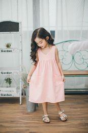 Wholesale Korean Summer Casual Dress - Babies Cotton Ruffle Dresses Kids Girls Fashion Casual Dress Baby Girl Summer Korean Clothing 2017 childrens Clothing