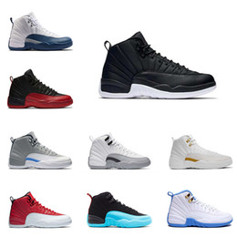 Wholesale Purple Fabric Cotton - Basketball Shoes 12 Wool Black Grey FLU game TAXI French blue gym red wolf Grey Playoff Gamma Blue GS Barons Sports Shoes