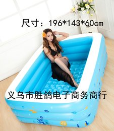 Wholesale Family Swimming Pools - Wholesale- Large children family outdoor colorful bubble bottom splashing adult bathtub inflatable Swimming Pool 196x143x60cm