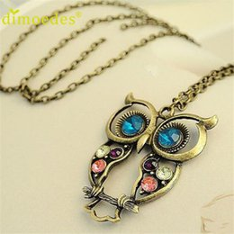 Wholesale Ladies Coats Wholesalers - Wholesale-Best seller Diomedes Fashion Lady Crystal Big Blue Eyed Owl Long Chain Pendant Sweater Coat Necklace collar escudo Apr13