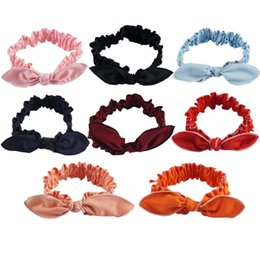 Wholesale Stretch Twist Headband - Solid Cotton Knot Headband Baby Kids Twist Hairbands Girls Rabbit Ears Headwear Toddler Handmade Stretch Headwraps Solid Hair Accessories