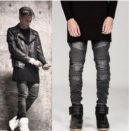 Wholesale White Stretch Jeans Mens - Mens Ripped Biker Denim Jeans Famous Brand Designer Skinny Ripped Motorcycle Jean Mens Distressed swag Jogger Jeans stretch fabric