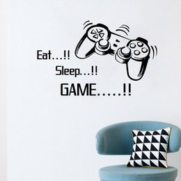 Wholesale Game Stickers - 4045 Eat Sleep Game vinyl wall art stickers gamer XBOX PS3 Boys Bedroom Letter Quotes Home Decoration Wall Mural Free Shipping