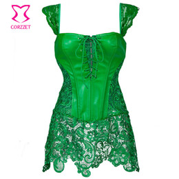 Wholesale Green Leather Lingerie - Punk Green Floral Lace & Leather Corset Dress Corselet Plus Size Lingerie Corsets and Bustiers Sexy et Gothic Clothing