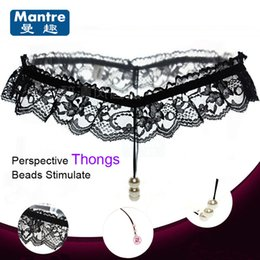 Wholesale Wholesale Sex Toys Lingerie - Fashion Women Sexy Thongs Lace Underwear Clits Pussy Stimulate Beads Penis Massager Delay Couples G-String Lingerie Sex Toys