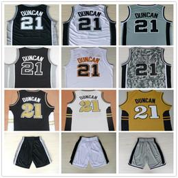 Wholesale Gray Men S Basketball - Cheap Mens #21 Tim Duncan Jersey Uniform Shirt Team Black White Gray Camo Stitched Colllege Tim Duncan Basketball Jerseys Fast Free Shipping