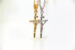 Wholesale Pendant Religious - Wholesale-Fashion Jewelry Jesus Cross Necklace 24K Gold Plated INRI Pendant For Women Men Fashion Religious Jewelry Crucifix Necklace