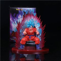 Wholesale Finish Hair - Anime Dragon Ball Super Son Goku Figure Super Saiyan God Kaiouken Goku Blue Hair Model Toy 17CM