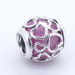 Pandora amor rosa cz online-925 joyería de plata esterlina En caja de Love Pink CZ beads fit pandora charms Pulsera brazalete para mujer joyería finding 2017 summer