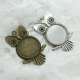 Wholesale Metal Blanks Pendants - Sweet Bell (Min order 8 pieces) Antique Bronze Metal owl 36*55mm (Fit 25mm) Round Cabochon Pendant Setting Vintage Blank Charms A4112