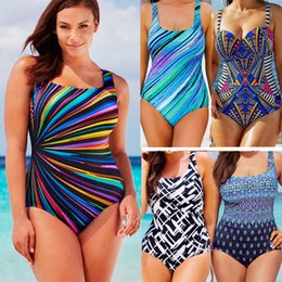 Wholesale Plus Size Women Swimsuit - 2017 Plus Size Bikini Swimwear For Women One-Piece Bandage Swimsuit Push Up Boho Fringe Mesh Bathing Suit Monokini S M L XL XXL XXXL