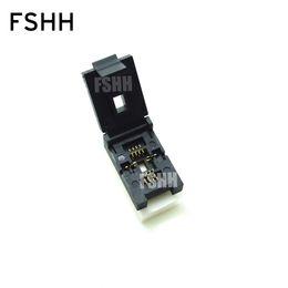 Argentina Freeshipping QFN8 Test Socket WSON8 MLF8 DFN8 Socket (asiento de prueba Flip) Pitch = 1.27mm Tamaño = 6x8mm Suministro